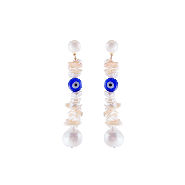baroque pearl earrings, evil eye earrings, evil eye jewelry