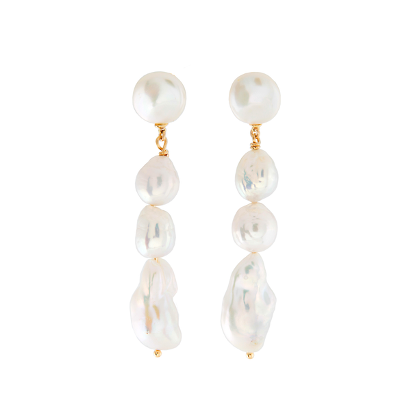 pearl earrings, baroque pearl earrings