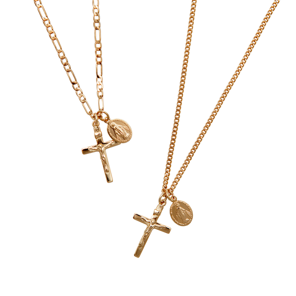 Cross and Saint Medal Charm Necklace