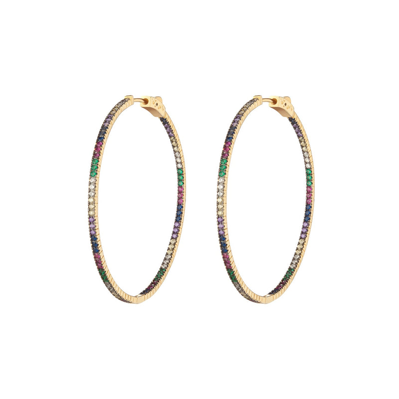 pave multicolor hoops, rainbow hoops