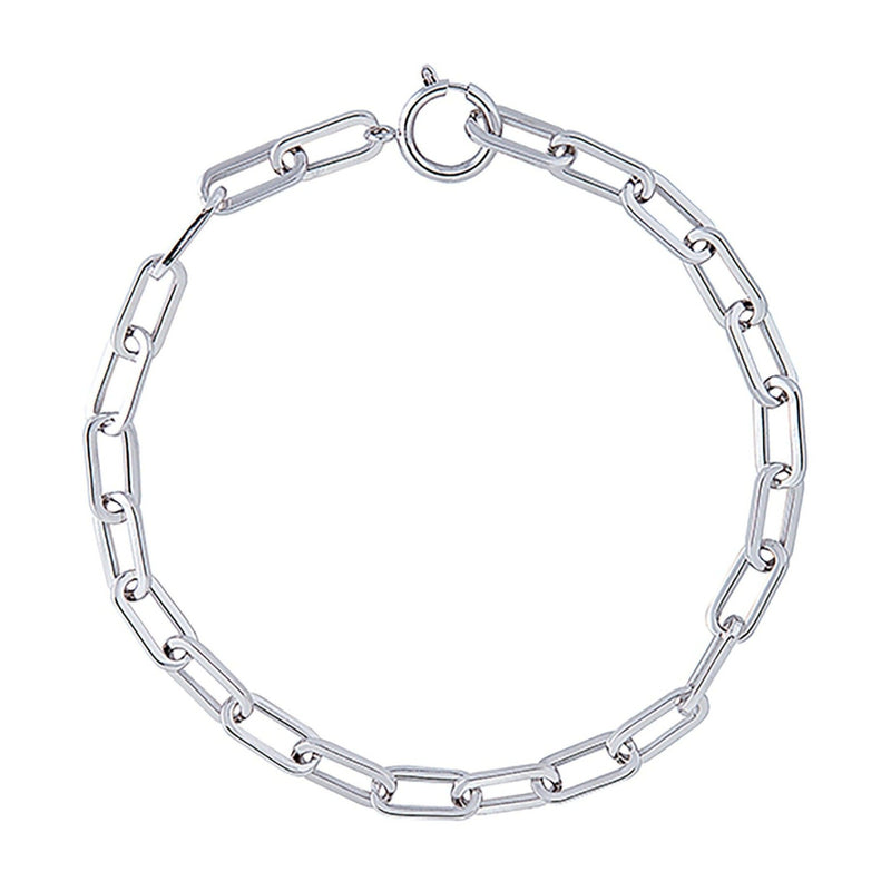 Rhodium Open Link Necklace