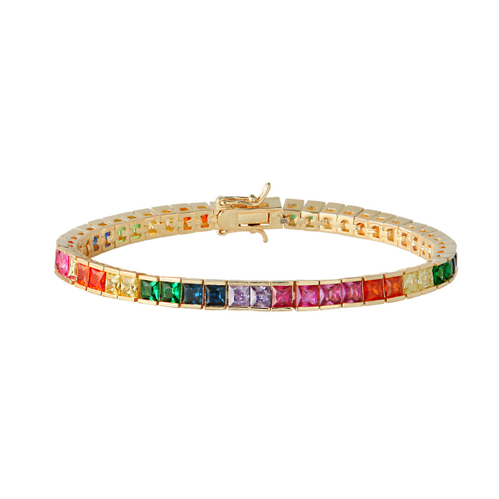 RAINBOW TENNIS BRACELET, MULTICOLOR TENNIS BRACELET