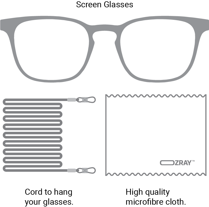 OZRAY Screen Glasses What's In the box.