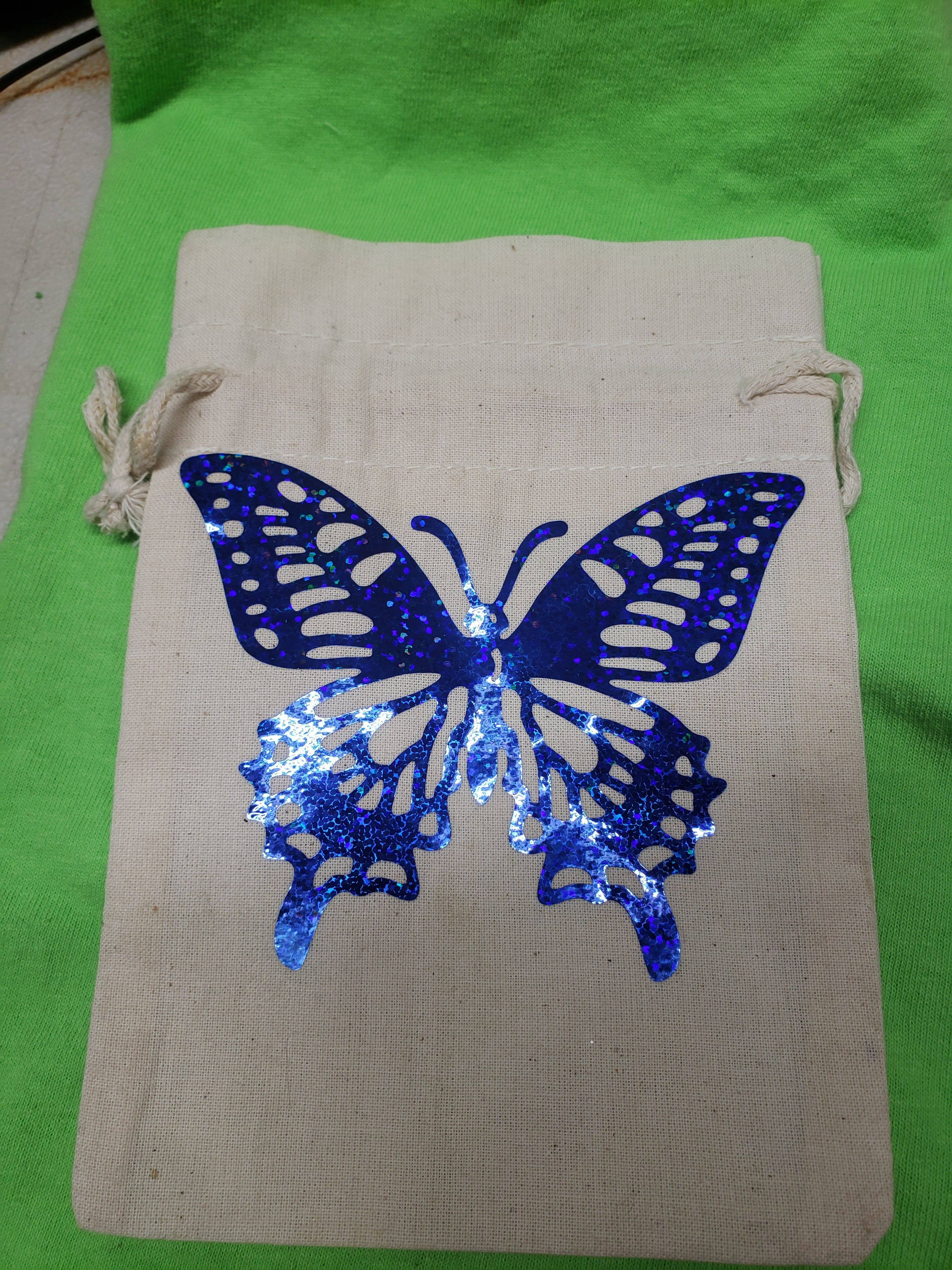 Blue Holographic butterfly drawstring bag