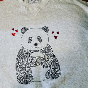 Panda sweatshirt with red holographic hearts.