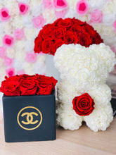 Load image into Gallery viewer, Ceramic Preserved Flower Vase & Rose Bear With Real Eternity Rose
