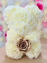 Load image into Gallery viewer, Ivory Rose Bear With Gold Eternity rose