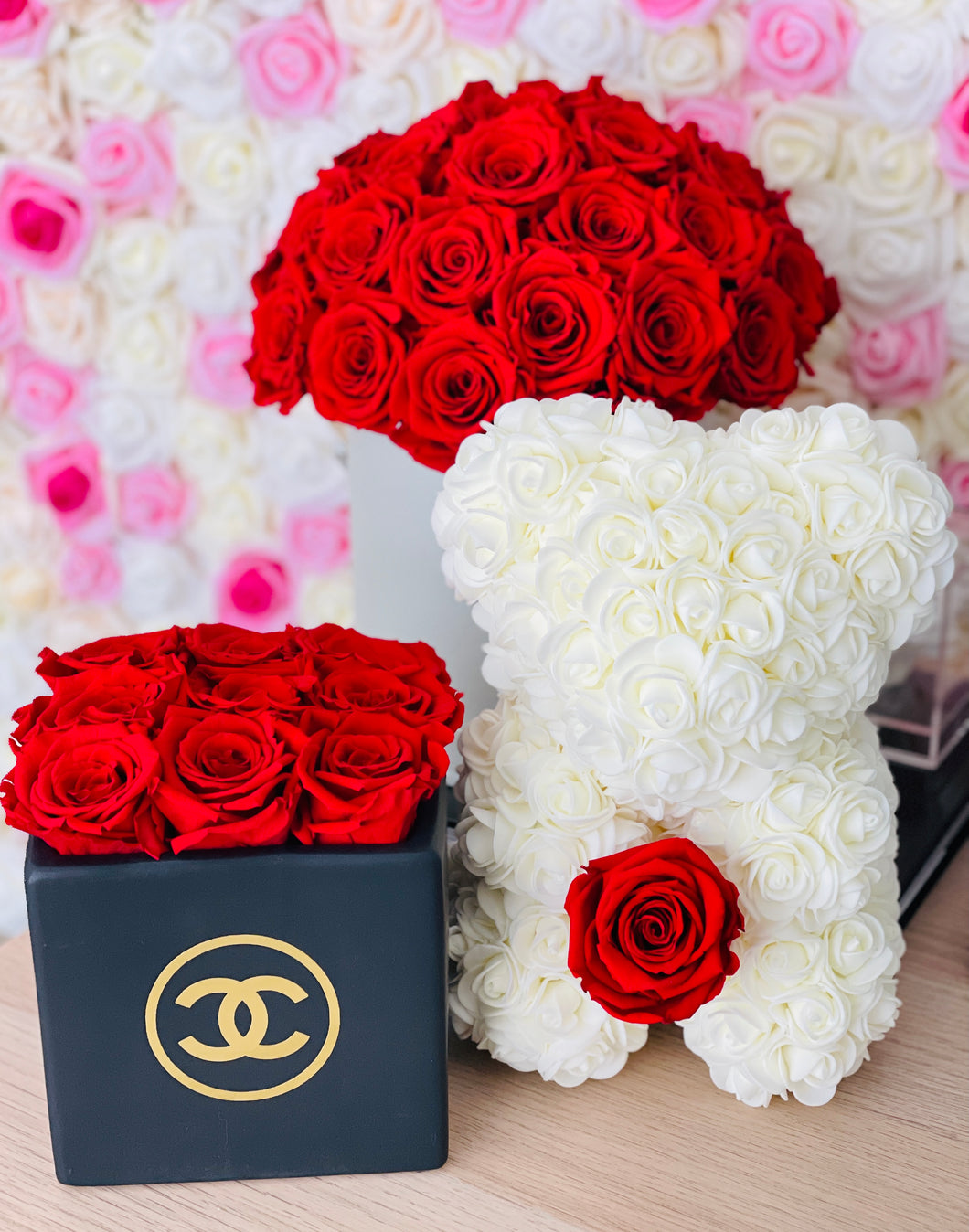 Ceramic Preserved Flower Vase & Rose Bear With Real Eternity Rose