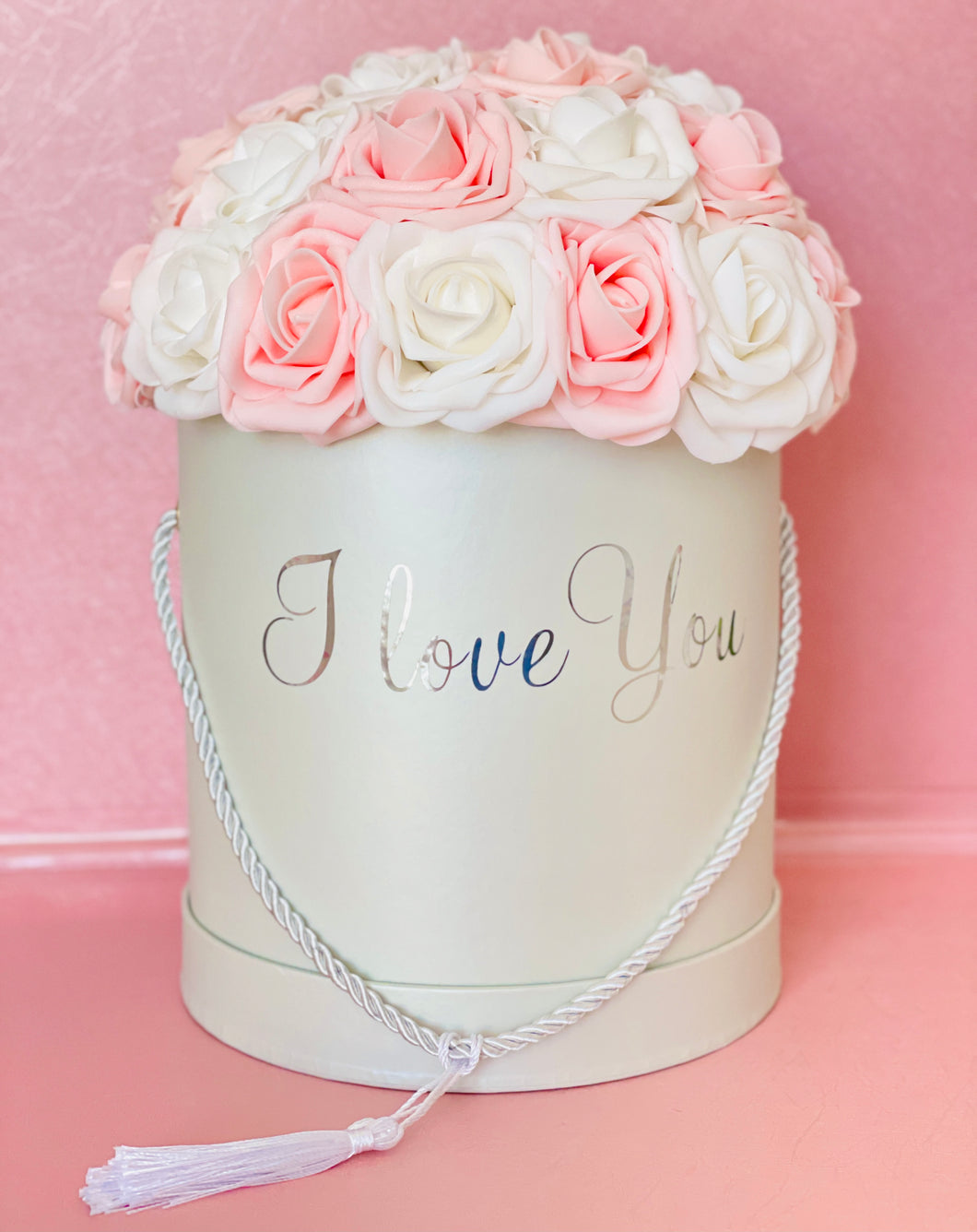 I Love You White and Pink Rose Box