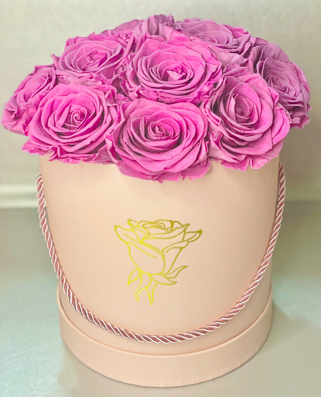 Round Pink Preserved Flower Box