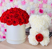 Load image into Gallery viewer, Preserved Flower Box & Rose Bear With Real Eternity Rose
