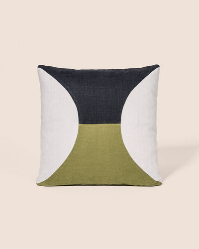Coussin Circle - Bleu Glace & Olive, Playground, Goodmoods Éditions.