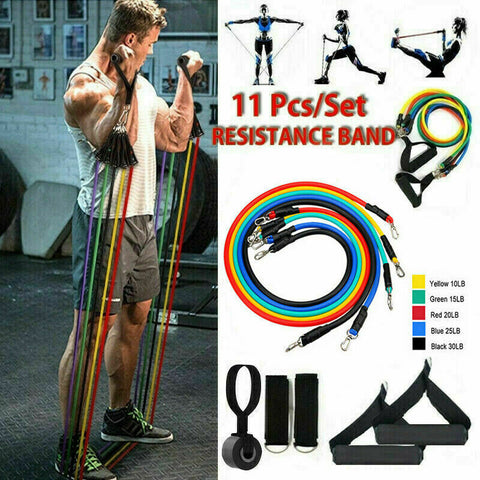 11PCS Resistance Bands Set Pull Rope Home Gym Equipment Yoga Fitness Exercise