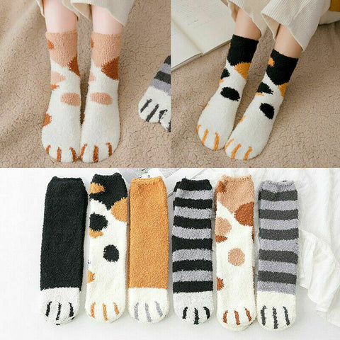 Winter Cat Claws Cute Thick Warm Sleep Floor Socks Plush Coral Fleece Girl Socks