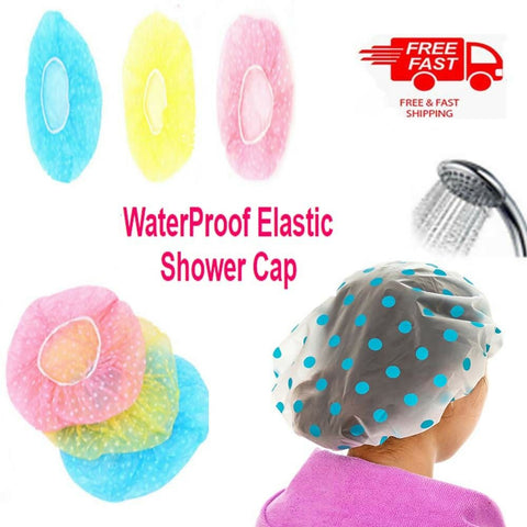 1/3x Elastic Waterproof Shower Cap Hat Bath Head Hair Cover Salon Shower Cap