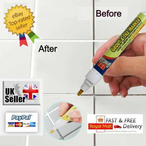Grout Pen tile Repair Revive Anti-Mould Kitchen,Bathroom,Shower White & Colours