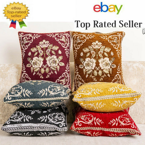 Luxury Plushy Cushion Cover Flower Design With Piped Edges 18 inch Size 6 Colors