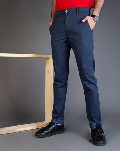 Blue Textured Slim Fit Chinos