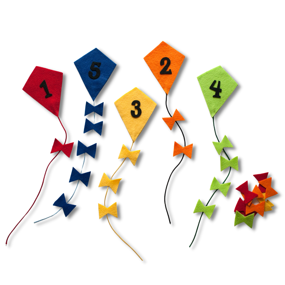 Counting and Colour Sorting Kites Felt Set Pattern