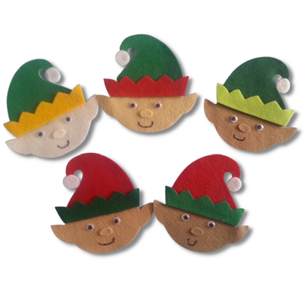 Five Little Elves Felt Set Pattern