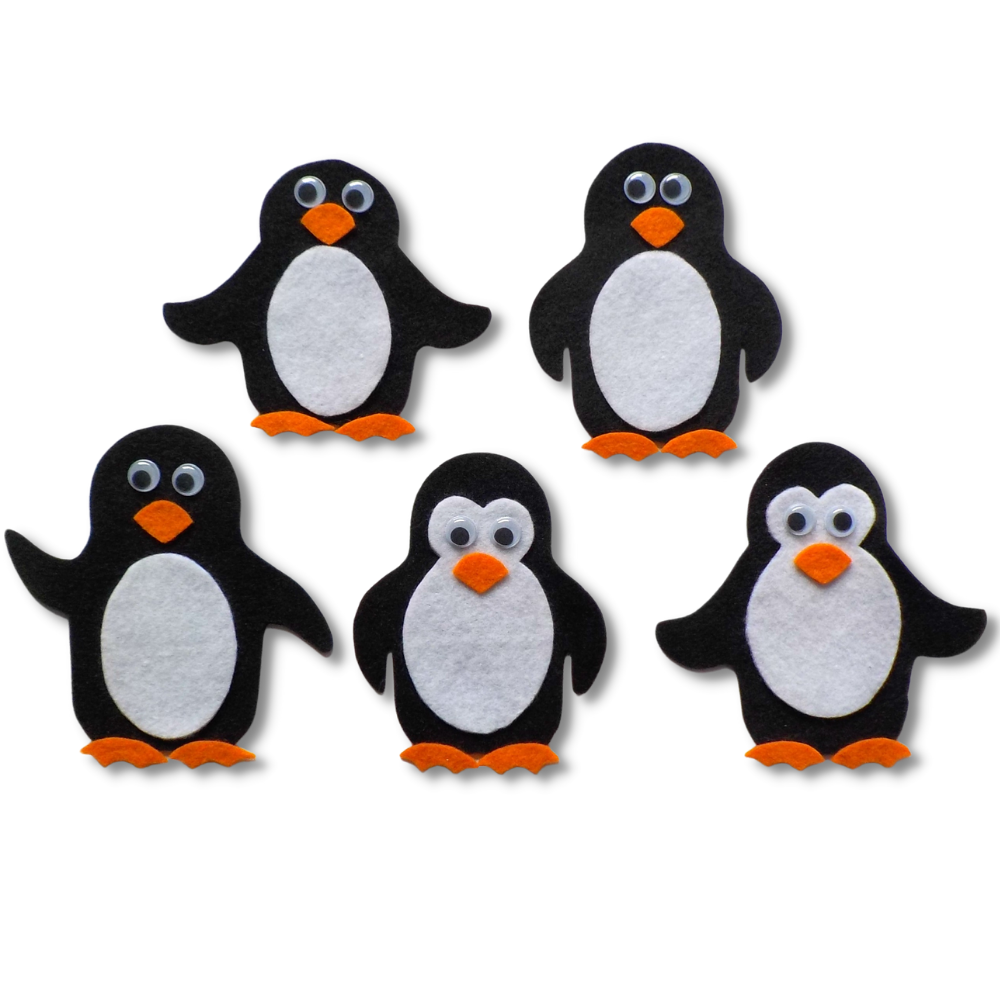 Five perky Penguins Felt Set Pattern
