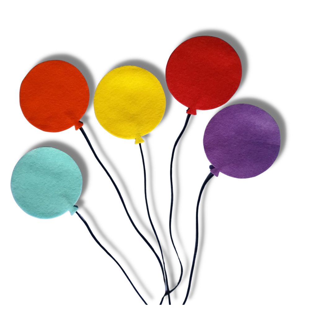 Five Balloons Up in the Sky Felt Set Pattern