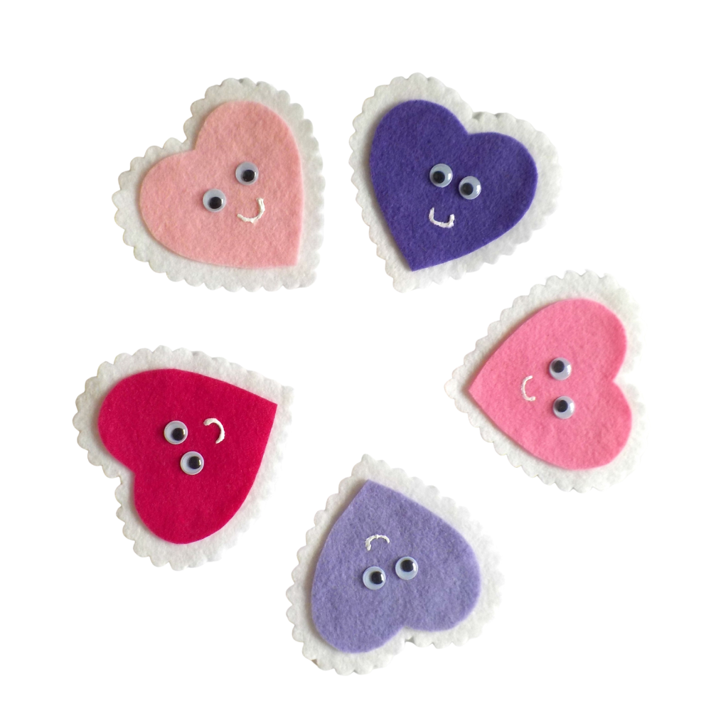 Five Valentine's Hearts Felt Set Pattern