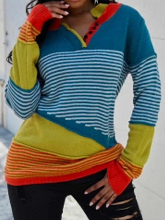 Women Vintage Striped Contrast Color Sweater