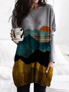 Mountain Landscape Printed Casual Long Sleeve T-shirt