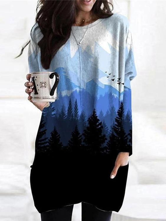 Landscape Printed Pocket Casual Long Sleeve Blouse