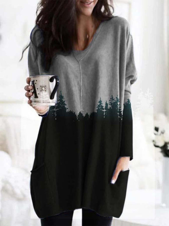 Treetop Printed Pocket Casual Long Sleeve Blouse