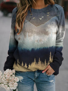 Landscape Printed Crew Neck Casual Long Sleeve Tops