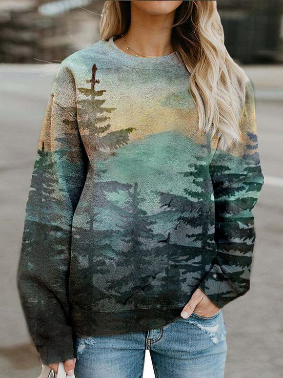 Forest Mountain Printed Casual Long Sleeve Tops