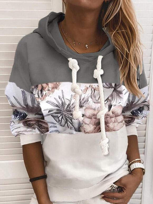 Print Floral Patchwork Long Sleeves Hoodie