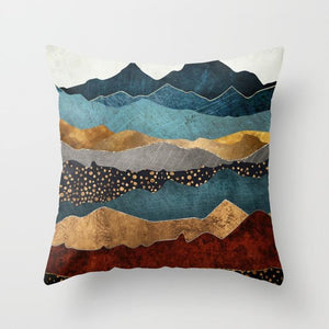 Geometric Mountain Peak Sun Whale Landscape Print Pillowcase