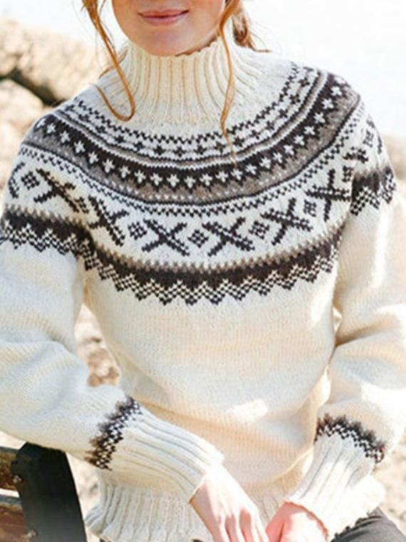 Women Vintage Geometric Sweater Turtleneck