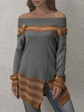 Women Vintage Off Shoulder Split Sexy Sweater