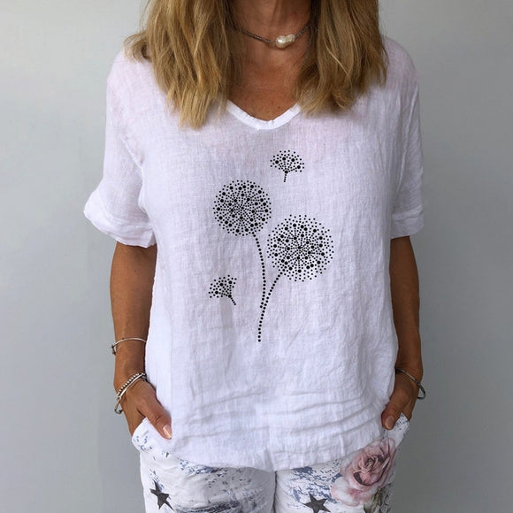 Women's T-shirt Floral Flower V Neck Tops Basic Top White Yellow Navy Blue