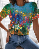 Women's T shirt Graphic Scenery 3D Print Round Neck Tops