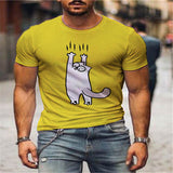 Men's T shirt Hot Stamping Animal Print Short Sleeve Daily Tops 100% Cotton Basic Casual