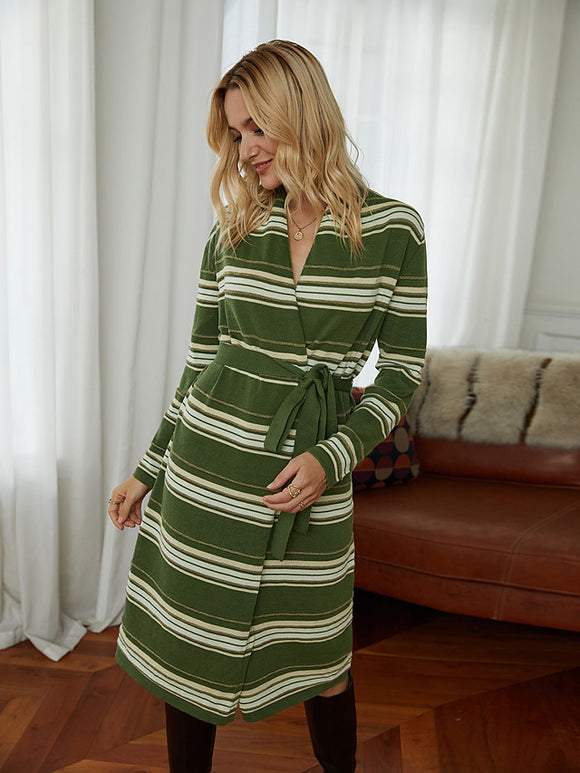 Women's Sweater Jumper Dress Knee Length Dress Long Sleeve Striped