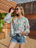 Women's Blouse Shirt Floral Flower Long Sleeve Lace up Print V Neck Tops Lantern Sleeve Basic Basic Top Green