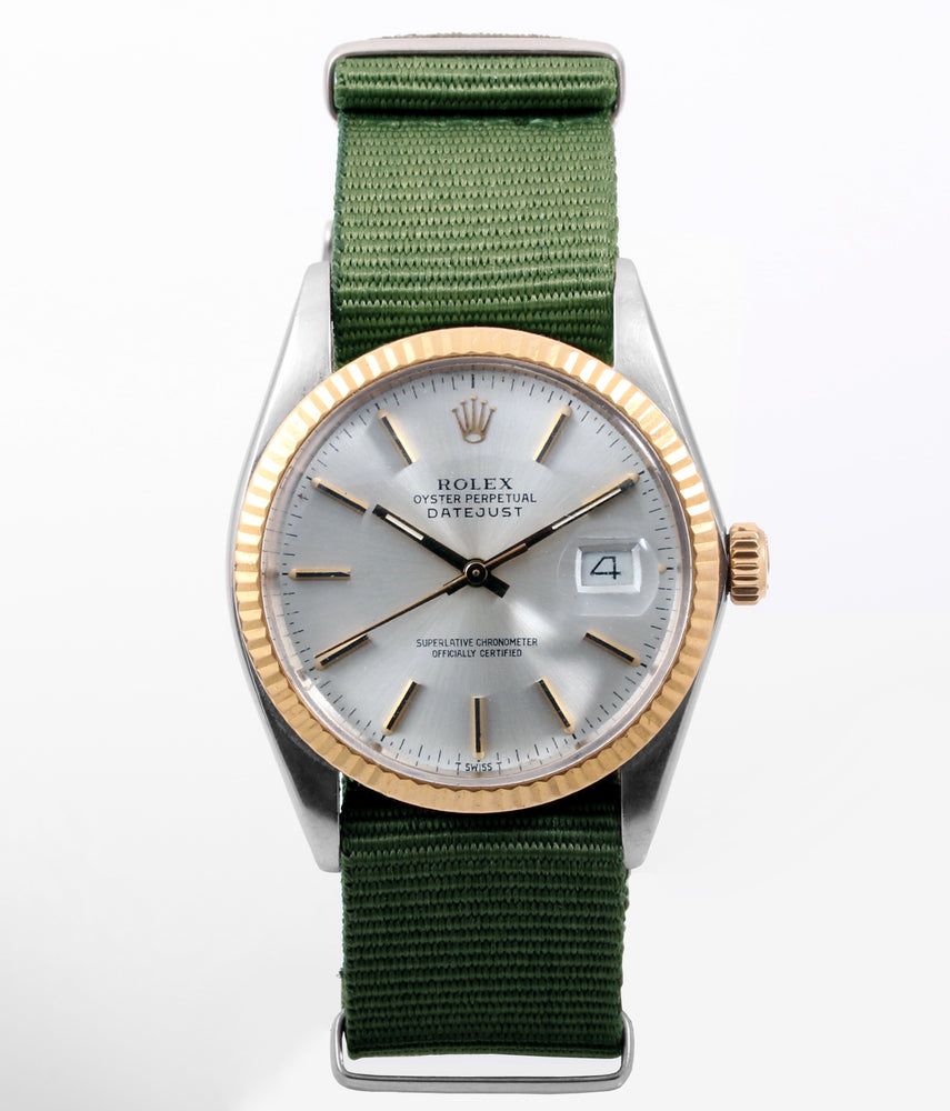 Rolex Mens 18k/SS Datejust - 16013 - Silver Dial - Olive strap