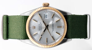 Load image into Gallery viewer, Rolex Mens 18k/SS Datejust - 16013 - Silver Dial - Olive strap