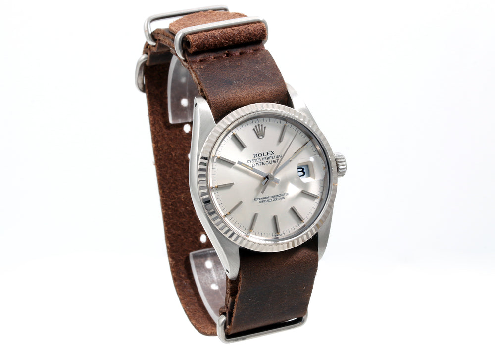 Rolex Mens Stainless Steel Datejust - Silver Dial - Brown Leather