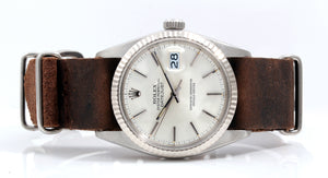 Load image into Gallery viewer, Rolex Mens Stainless Steel Datejust - Silver Dial - Brown Leather