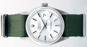 Rolex Mens Stainless Steel Datejust - Silver Dial - Olive Strap