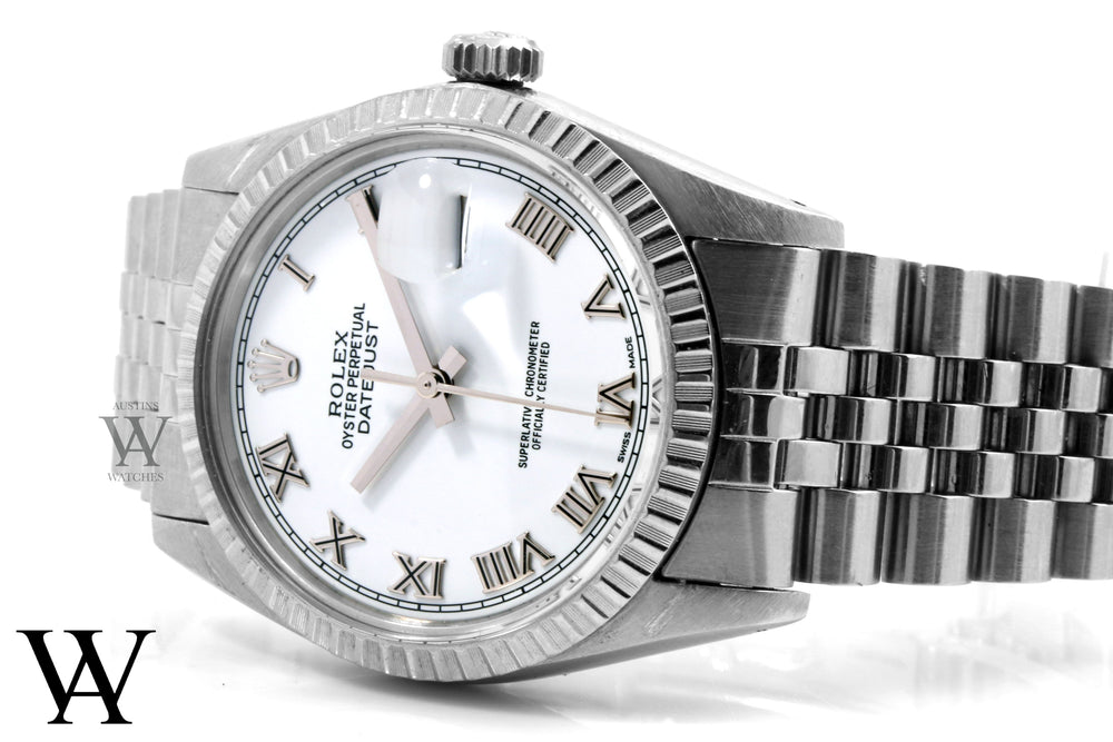 Rolex Mens Stainless Steel Datejust - White Roman Dial - Jubilee Band
