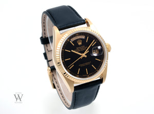 Rolex 18k Yellow Gold Day Date 18038 Black Stick Dial Leather Strap