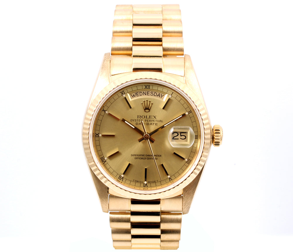 Rolex 18k Yellow Gold Day Date 18038 Champagne Stick Dial